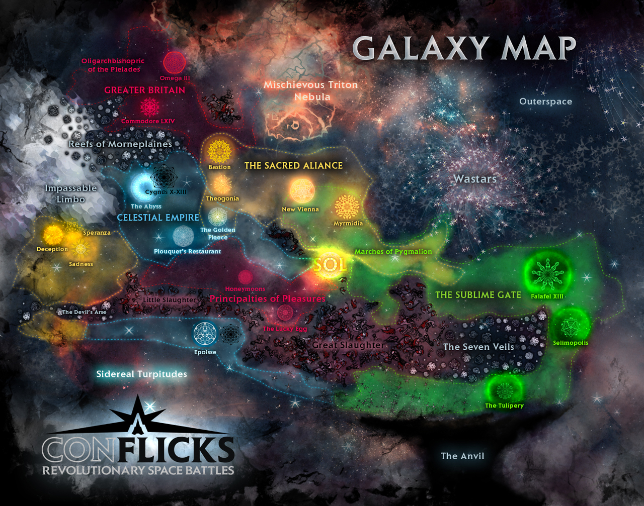 An overview of the galaxy in Conflicks: Greater Britain